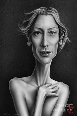 Caricature Drawing - Cate Blanchett by Andre Koekemoer