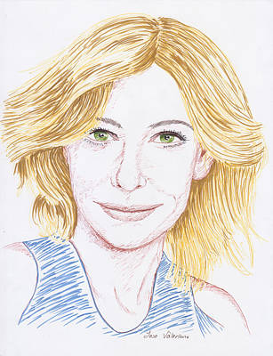Drawing Photograph - Cate Blanchett by M Valeriano