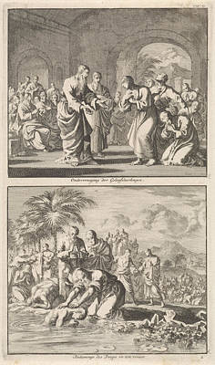Catechesis Of Five Believers And The Baptism Of New Art Print by Jan Luyken And Jacobus Van Hardenberg And Jacobus Van Nieuweveen