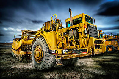 Landscapes Royalty-Free and Rights-Managed Images - Caterpillar CAT 623F Scraper by YoPedro