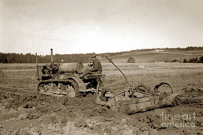 Photograph - Caterpillar Sixty Working A Field  Circa 1930 by California Views Mr Pat Hathaway Archives