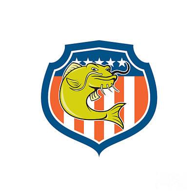 Catfish Digital Art - Catfish Angryfish Shield Cartoon by Aloysius Patrimonio