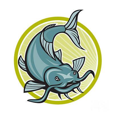 Catfish Digital Art - Catfish Attacking Circle Cartoon by Aloysius Patrimonio