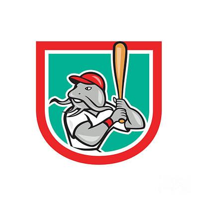 Catfish Digital Art - Catfish Baseball Hitter Batting Cartoon Shield by Aloysius Patrimonio