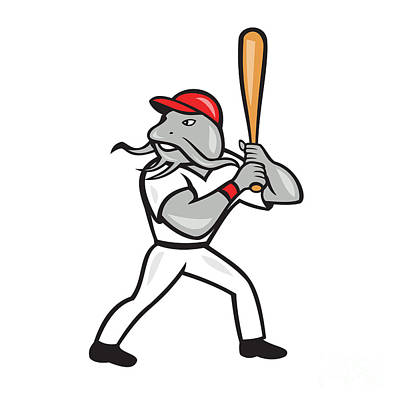 Catfish Digital Art - Catfish Baseball Hitter Batting Full Isolated Cartoon  by Aloysius Patrimonio