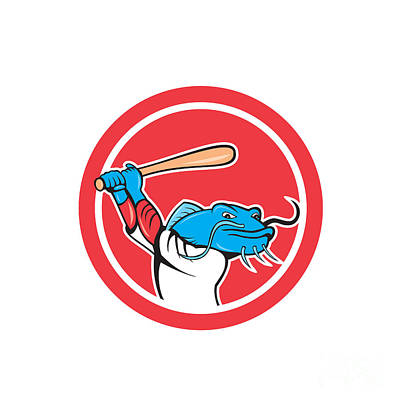 Catfish Digital Art - Catfish Baseball Player Batting Cartoon by Aloysius Patrimonio