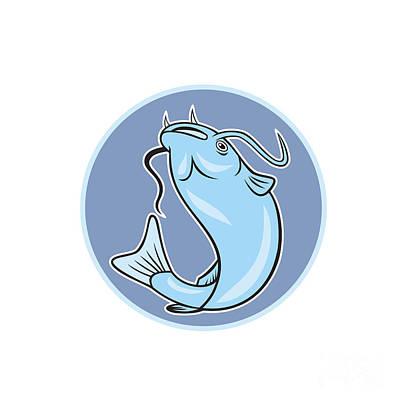 Catfish Digital Art - Catfish Jumping Circle Cartoon by Aloysius Patrimonio