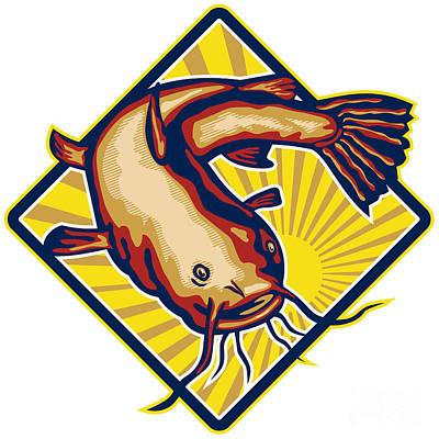 Catfish Digital Art - Catfish Mud Cat Polliwog Jumping Retro by Aloysius Patrimonio