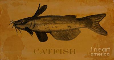 Catfish Mixed Media - Catfish Plaque by R Kyllo
