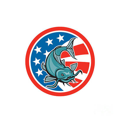 Catfish Digital Art - Catfish Swimming American Flag Circle Cartoon by Aloysius Patrimonio