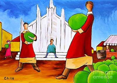 Artist William Cain Painting - Cathedral And Melons by William Cain