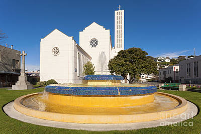 Hawkes Bay Photograph - Cathedral And Tait Fountain Napier New Zealand by Colin and Linda McKie