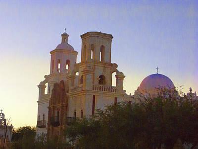 San Xavier Digital Art - Cathedral At Sunset by Kathy Rose