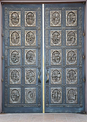 Photograph - Cathedral Basilica Of St Francis Of Assisi Bronze Door by Robert Meyers-Lussier