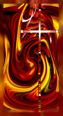 Digital Art - Cathedral Cross by rd Erickson
