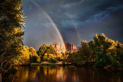 Cathedral Crossing Double Rainbow Art Print by Linda Pulvermacher