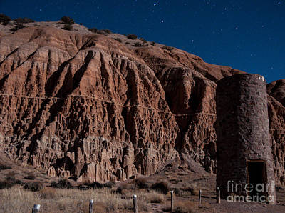 Moonlit Night Photograph - Cathedral Gorge Nightscape - Nevada by Gary Whitton