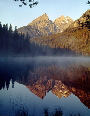 Photograph - 4m9304-cathedral Group Reflection, Tetons, Wy by Ed  Cooper Photography