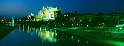 Mallorca Photograph - Cathedral Lit Up At Night, Palma by Panoramic Images