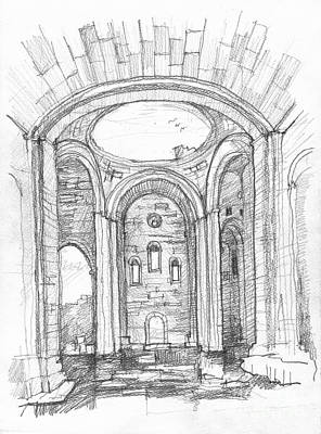 Church Pillars Drawing - Cathedral Of Ani by Peut Etre