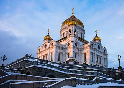 Reconstruction Photograph - Cathedral Of Christ The Savior At Winter Sunset - Featured 2 by Alexander Senin