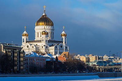 Reconstruction Photograph - Cathedral Of Christ The Savior In Wintrertime by Alexander Senin