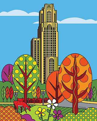 Harvard Digital Art - Cathedral Of Learning by Ron Magnes