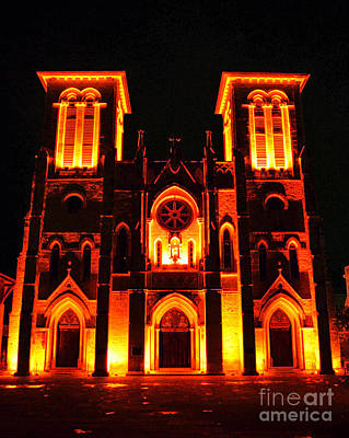Digital Art - Cathedral Of San Fernando At Night In San Antonio Texas Accented Edges Digital Art by Shawn O'Brien