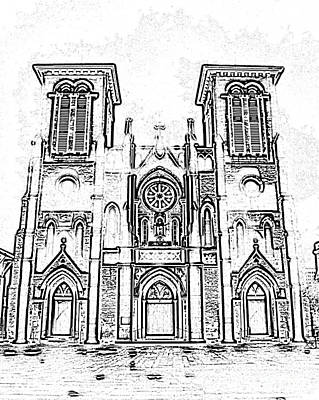 Digital Art - Cathedral Of San Fernando At Night In San Antonio Texas Black And White Digital Art by Shawn O'Brien