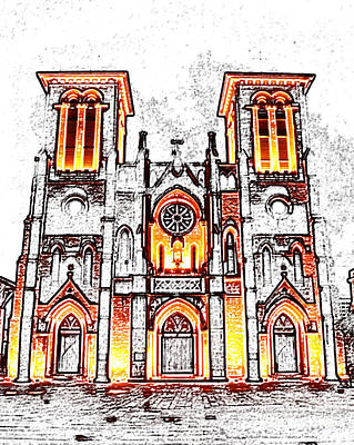 Digital Art - Cathedral Of San Fernando At Night In San Antonio Texas Colored Pencil Digital Art by Shawn O'Brien