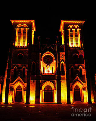 Digital Art - Cathedral Of San Fernando At Night In San Antonio Texas Ink Outlines Digital Art by Shawn O'Brien