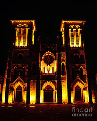 Digital Art - Cathedral Of San Fernando At Night In San Antonio Texas Poster Edges Digital Art by Shawn O'Brien