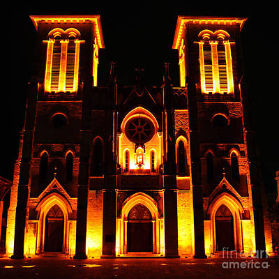 Photograph - Cathedral Of San Fernando At Night In San Antonio Texas Square Format by Shawn O'Brien