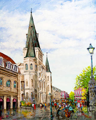 Jackson Square Painting - Cathedral Plaza - Jackson Square, French Quarter by Dianne Parks