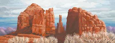 Cathedral Rock In Winter Art Print