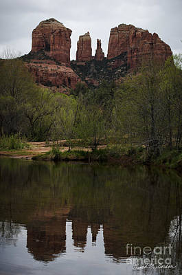 Cathedral Rock And Reflection Art Print by Dave Gordon