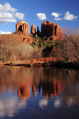 Cathedral Rock And Reflections At Sunset Art Print by Michel Hersen