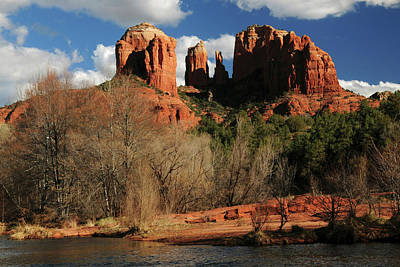 Cathedral Rock At Sunset, Red Rock Art Print by Michel Hersen