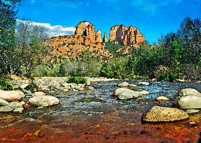 Digital Art - Cathedral Rock In Spring by Steven Barrows