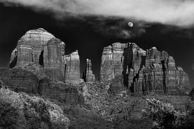 Black And White Photograph - Cathedral Rock Moon Rise by Dave Dilli