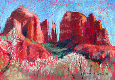 Painting - Cathedral Rock On Red Paper by Linda Novick