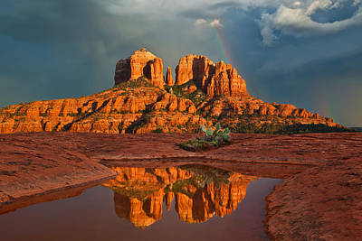 Sedona Photograph - Cathedral Rock Rainbow by Guy Schmickle