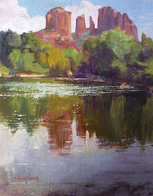 Cathedral Rock Painting - Cathedral Rock Reflection by Sharon Weaver