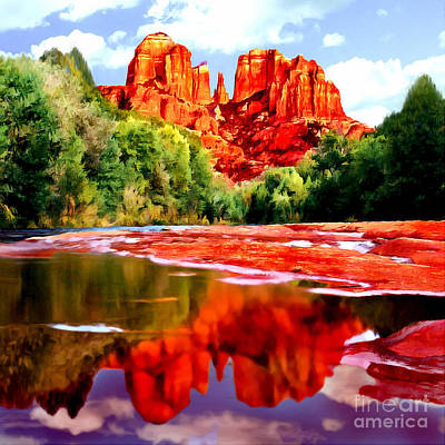Cathedral Rock Painting - Cathedral Rock Sedona Arizona by Bob and Nadine Johnston