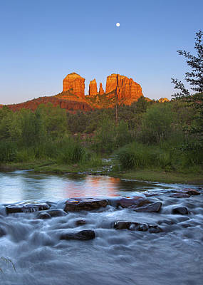 Cathedral Rock Sunset Moonrise Art Print by Brian Knott - Forget Me Knott Photography