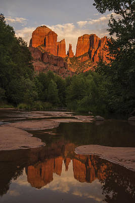 Photograph - Cathedral Rock Sunset Reflection 5 by Lee Kirchhevel