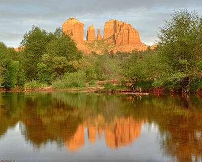 Art Print featuring the photograph Cathedral Rocks Reflection by Alan Vance Ley