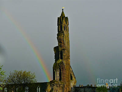 Photograph - Cathedral Ruins Double Rainbow by Deborah Smolinske