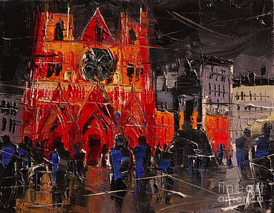 Streets Of France Painting - Cathedral Saint Jean-baptiste In Lyon by Mona Edulesco