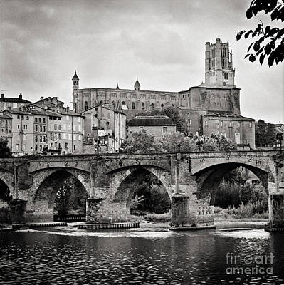 Cathedral St Cecile And The Old Bridge Over The River Tarn At Albi France Europe Art Print
